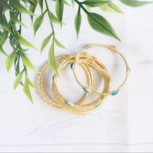 ⭐️TURQUOISE AND GOLD BANGLE BRACELETS⭐️